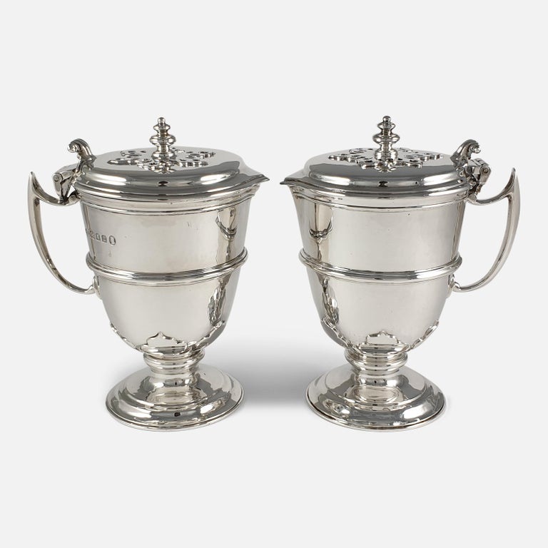 Mid-20th Century Pair of Planished Sterling Silver Jugs; Johnson, Walker and Tolhurst, 1935 For Sale