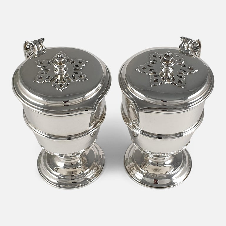 Pair of Planished Sterling Silver Jugs; Johnson, Walker and Tolhurst, 1935 For Sale 1