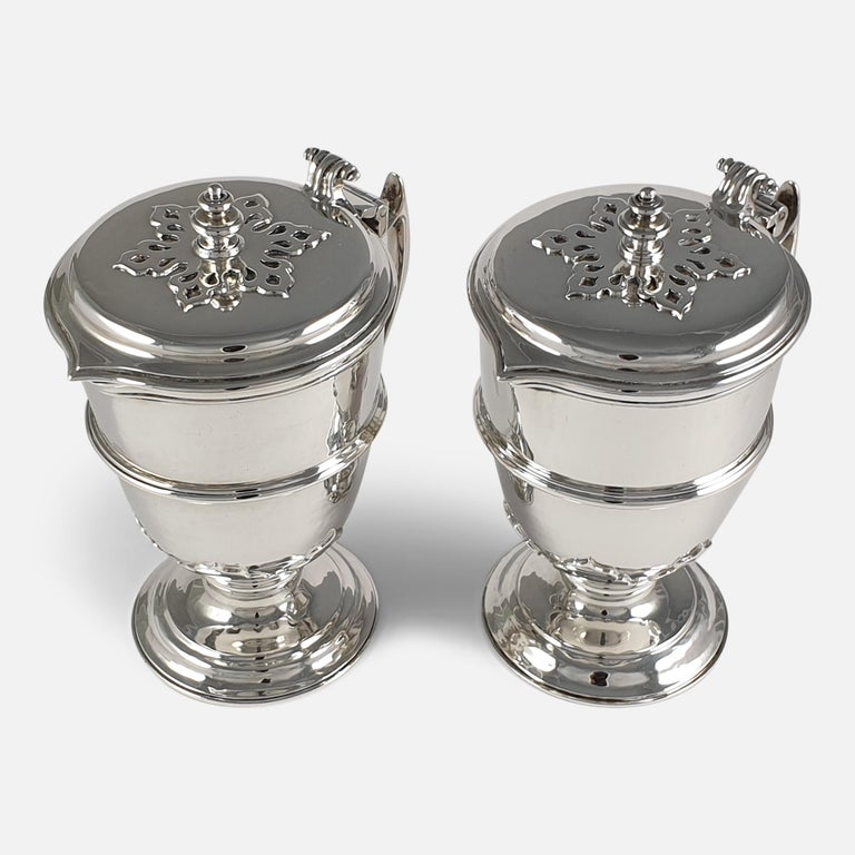 Pair of Planished Sterling Silver Jugs; Johnson, Walker and Tolhurst, 1935 For Sale 3
