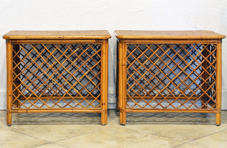 Spanish Colonial Pair of Plantation Style Rattan Side Tables by Artesania, Dominican Republic For Sale