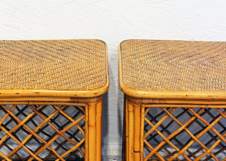 Pair of Plantation Style Rattan Side Tables by Artesania, Dominican Republic In Good Condition For Sale In Ft. Lauderdale, FL