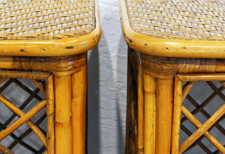 Pair of Plantation Style Rattan Side Tables by Artesania, Dominican Republic For Sale 1