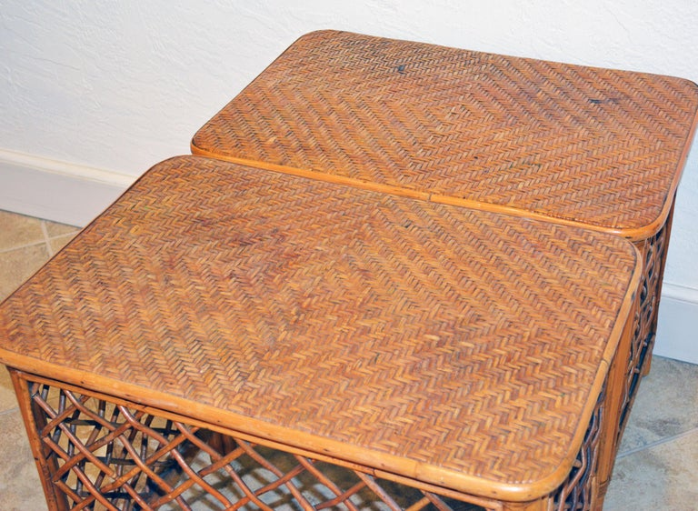 Pair of Plantation Style Rattan Side Tables by Artesania, Dominican Republic For Sale 2