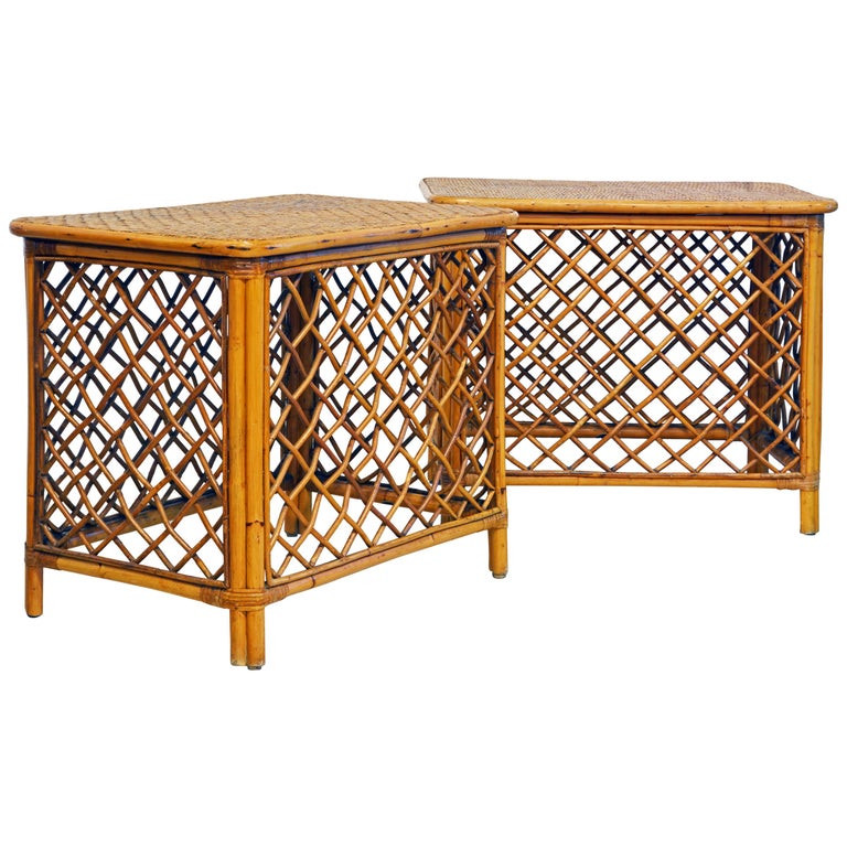 Pair of Plantation Style Rattan Side Tables by Artesania, Dominican Republic For Sale