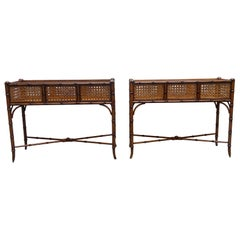 Pair of Planters in Inlaid Wood and Vienna Straw, Italy, 1950's