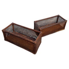 Pair of Planters in Rattan and Vienna Straw, Italy, 1960's