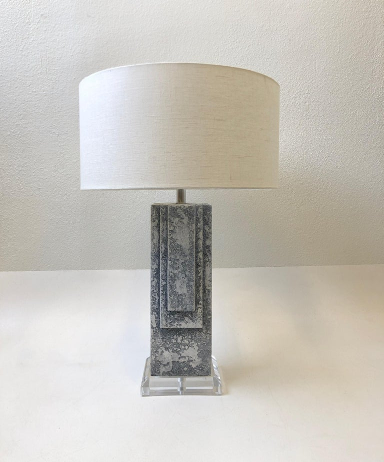 Pair of Plaster and Chrome Table Lamps For Sale 2