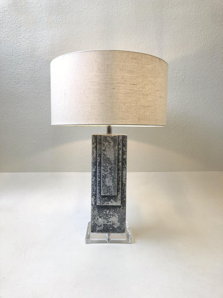 Pair of Plaster and Chrome Table Lamps For Sale 3