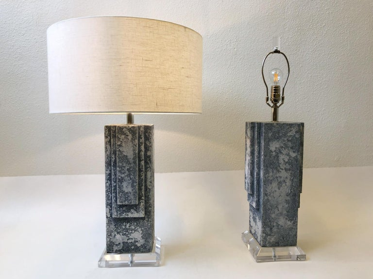 Pair of Plaster and Chrome Table Lamps For Sale 4