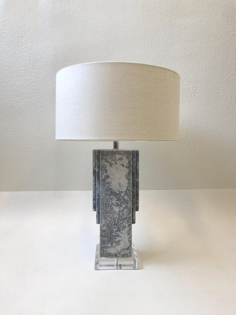 Pair of Plaster and Chrome Table Lamps For Sale 5