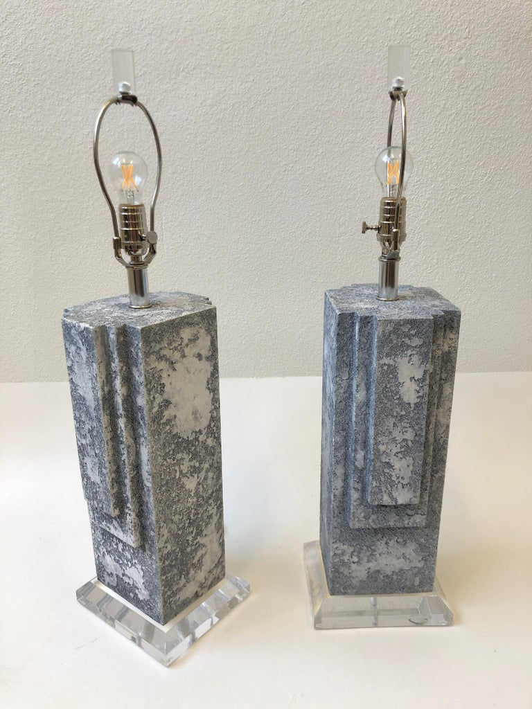 Modern Pair of Plaster and Chrome Table Lamps For Sale