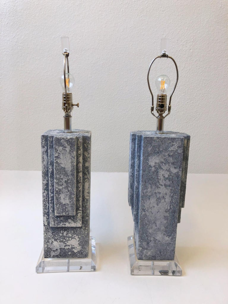Polished Pair of Plaster and Chrome Table Lamps For Sale