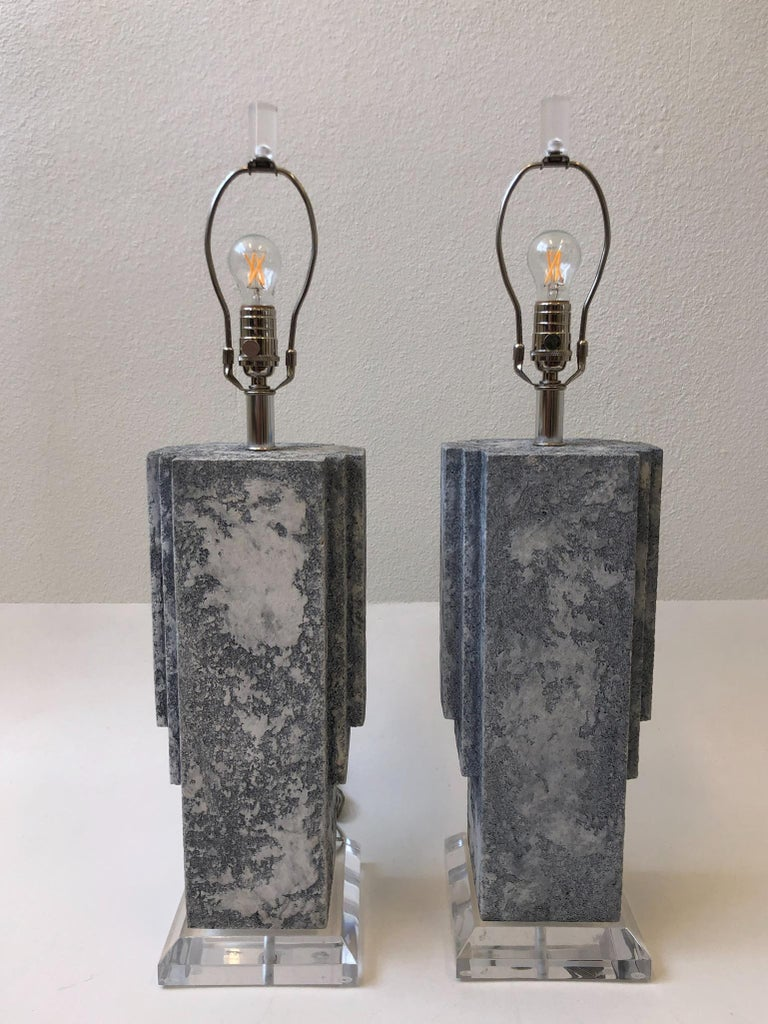 Pair of Plaster and Chrome Table Lamps In Good Condition For Sale In Palm Springs, CA