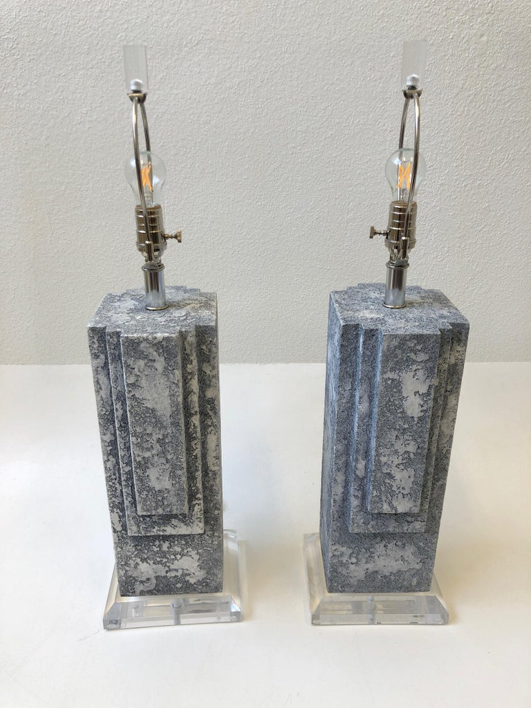 Linen Pair of Plaster and Chrome Table Lamps For Sale