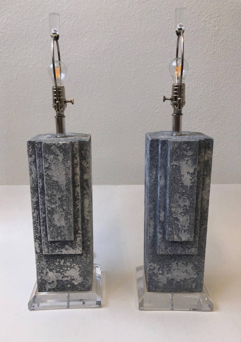 Pair of Plaster and Chrome Table Lamps For Sale 1