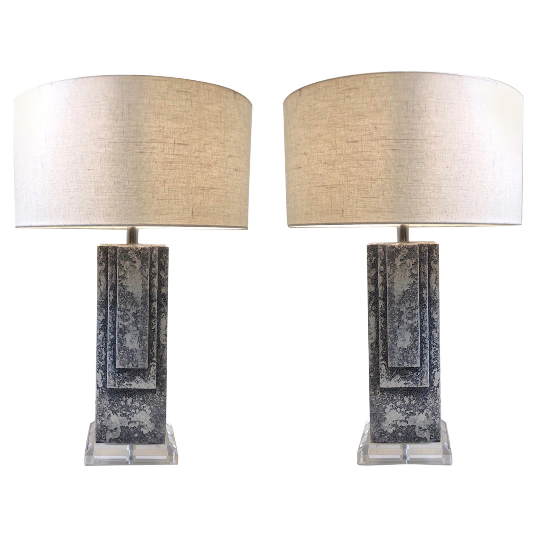Pair of Plaster and Chrome Table Lamps