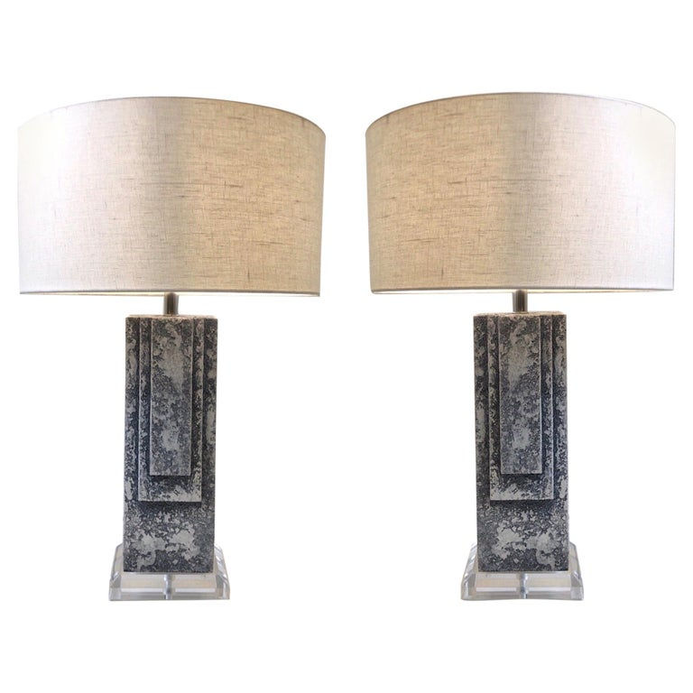 Pair of Plaster and Chrome Table Lamps For Sale