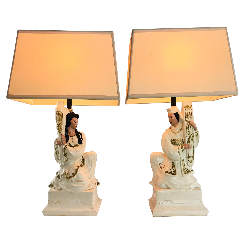 Pair of Plaster Figural Lamps