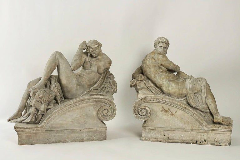 Pair of Plaster Group Lamps in the Manner of Michel-Angelo The Night and The Day For Sale 10