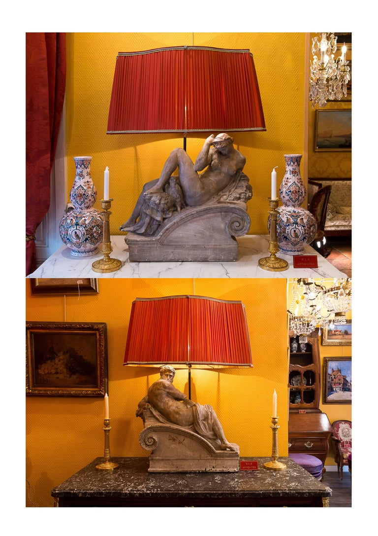 We are pleased to present you a fantastic pair of plaster group converted in lamps, with new French pleated silk lamp shades, Terra-Cotta color. Our plater group is in the manner of Michel-Angelo statues decorating Julien de Medicis grave in