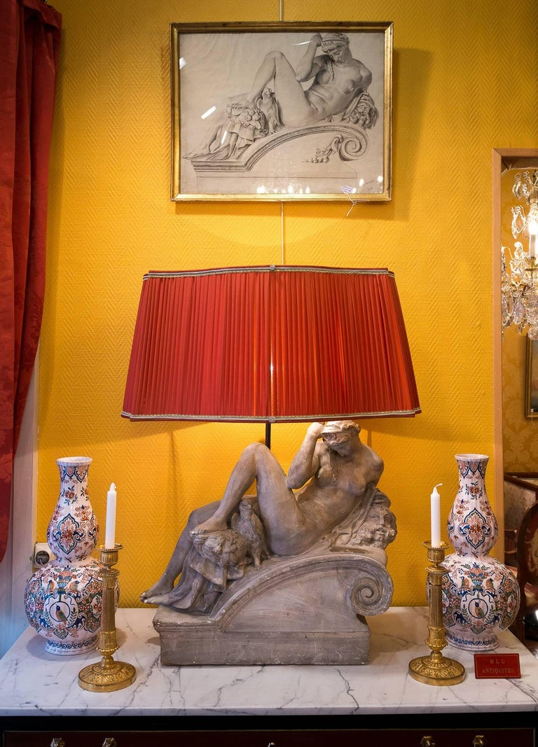 Italian Pair of Plaster Group Lamps in the Manner of Michel-Angelo The Night and The Day For Sale