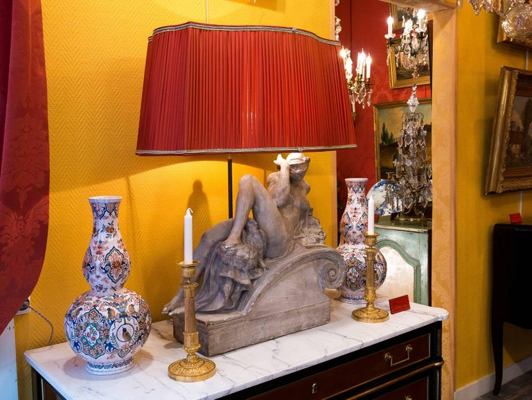 Pair of Plaster Group Lamps in the Manner of Michel-Angelo The Night and The Day In Good Condition For Sale In Saint Ouen, FR