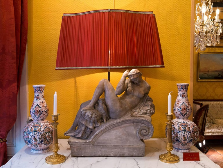 19th Century Pair of Plaster Group Lamps in the Manner of Michel-Angelo The Night and The Day For Sale
