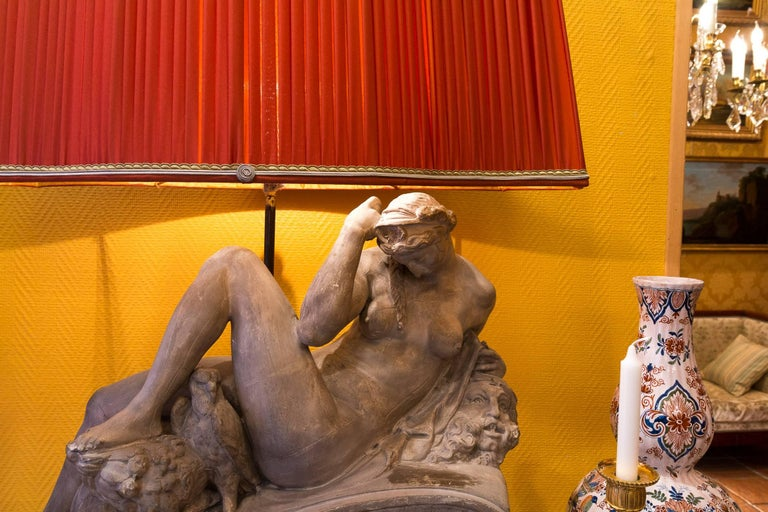 Pair of Plaster Group Lamps in the Manner of Michel-Angelo The Night and The Day For Sale 2