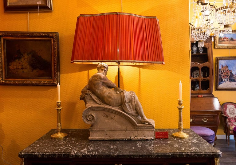 Pair of Plaster Group Lamps in the Manner of Michel-Angelo The Night and The Day For Sale 4
