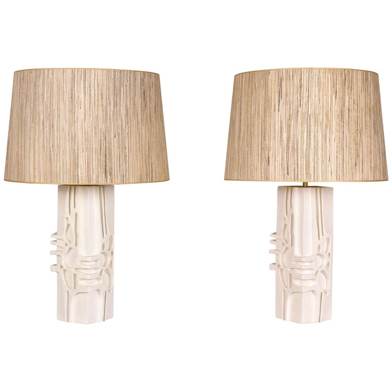 Pair of Plaster Lamps, circa 2000, France For Sale