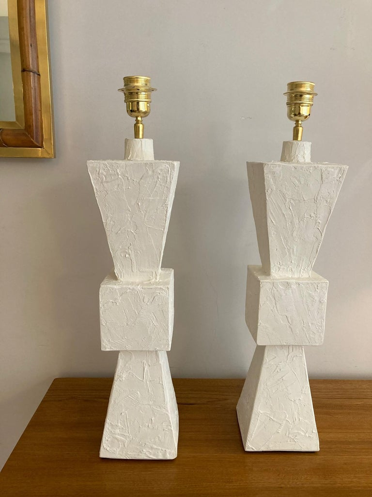 Pair of Plaster Lamps For Sale 3