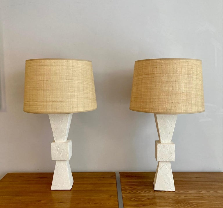 Mid-Century Modern Pair of Plaster Lamps For Sale