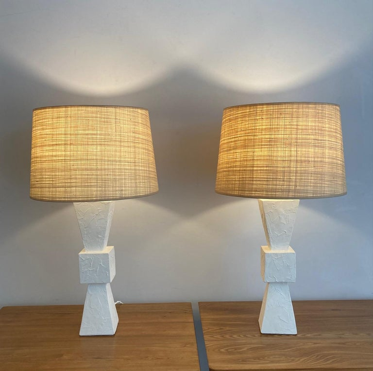 French Pair of Plaster Lamps For Sale