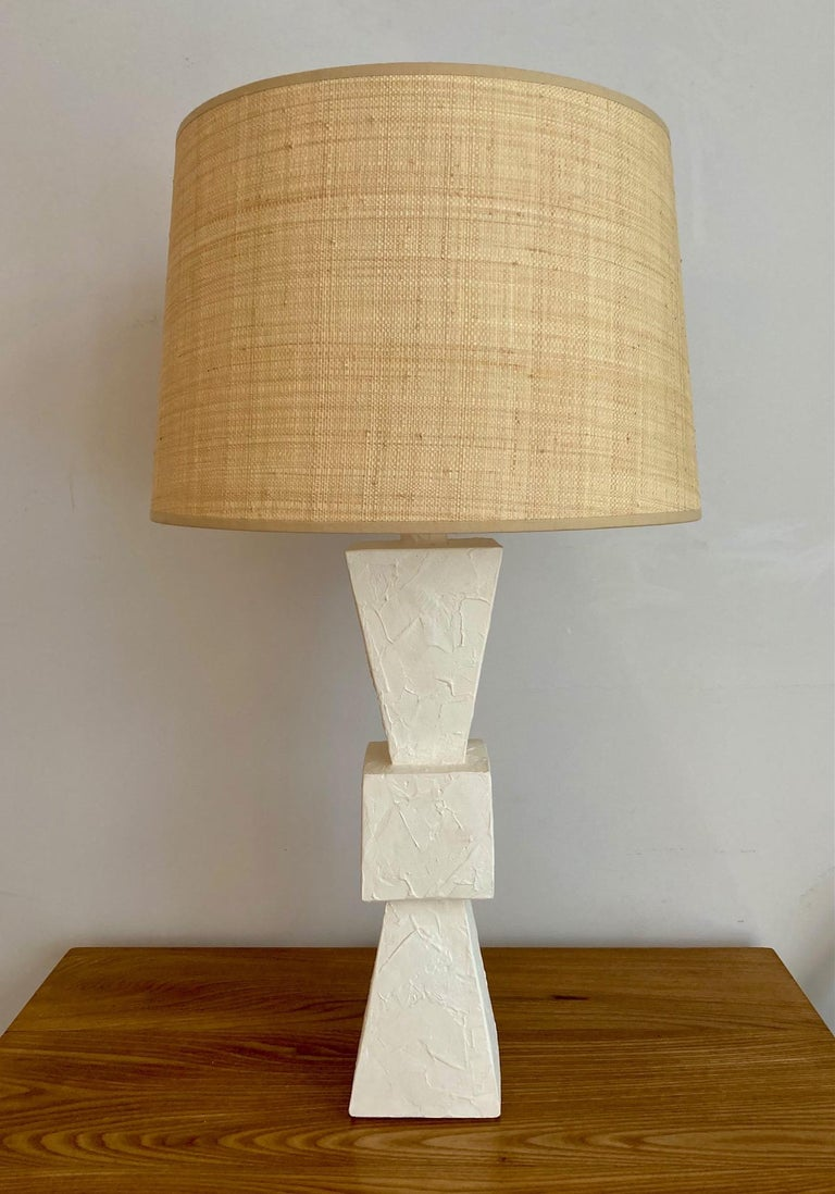 Contemporary Pair of Plaster Lamps For Sale