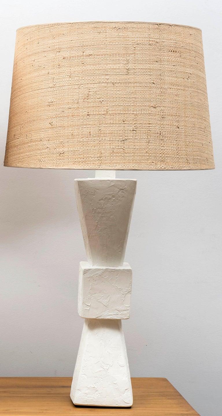 Natural Fiber Pair of Plaster Lamps For Sale