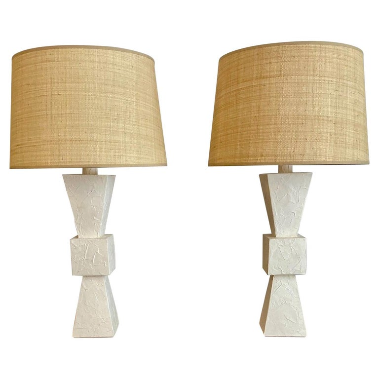 Pair of Plaster Lamps For Sale