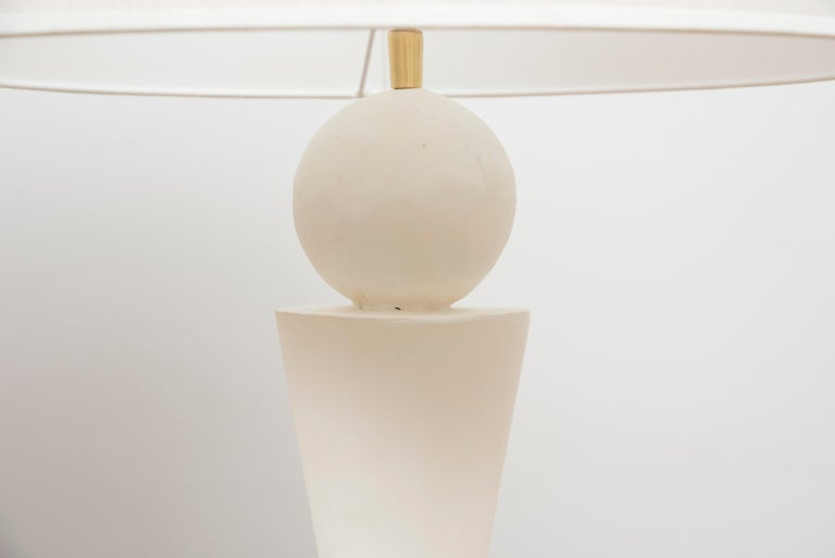 French Pair of Plaster Lamps in the Taste of Jean-Michel Frank For Sale