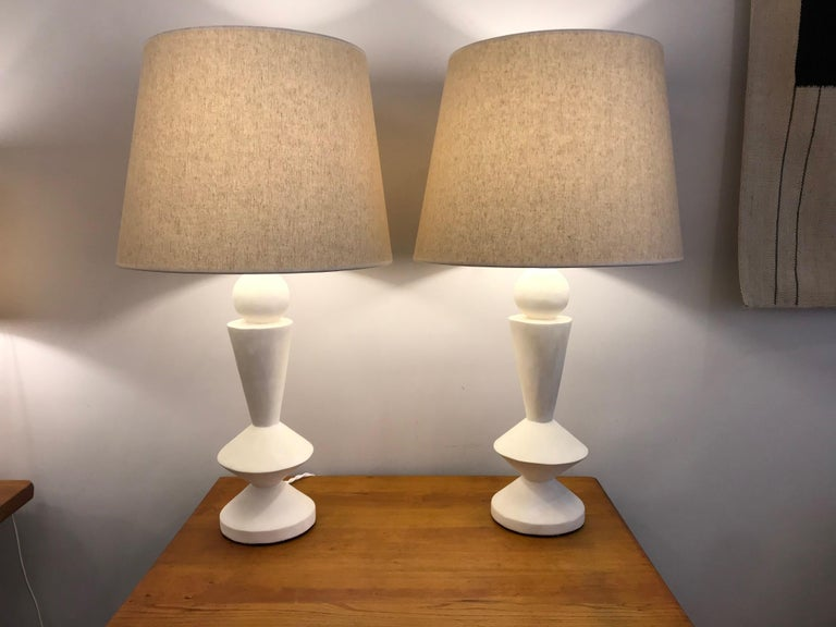 Mid-Century Modern Pair of Plaster Lamps in the Taste of Jean-Michel Frank For Sale