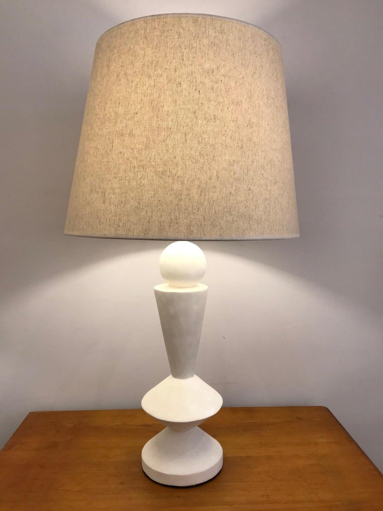 Pair of Plaster Lamps in the Taste of Jean-Michel Frank For Sale 3