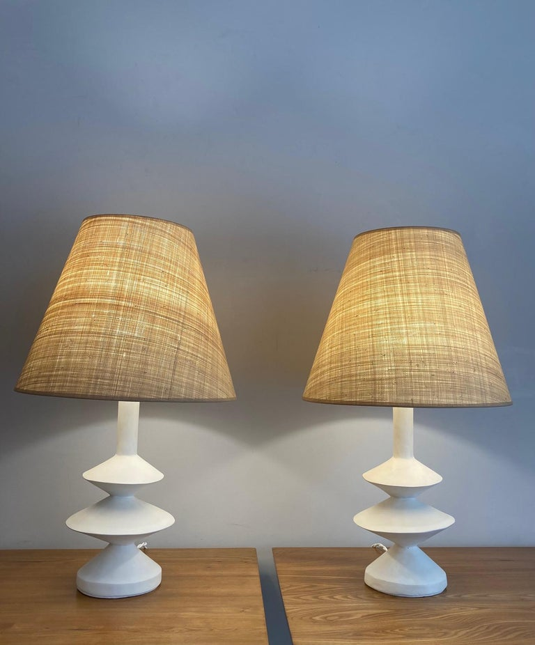 Modern Pair of Plaster Lamps with Raffia Shades For Sale