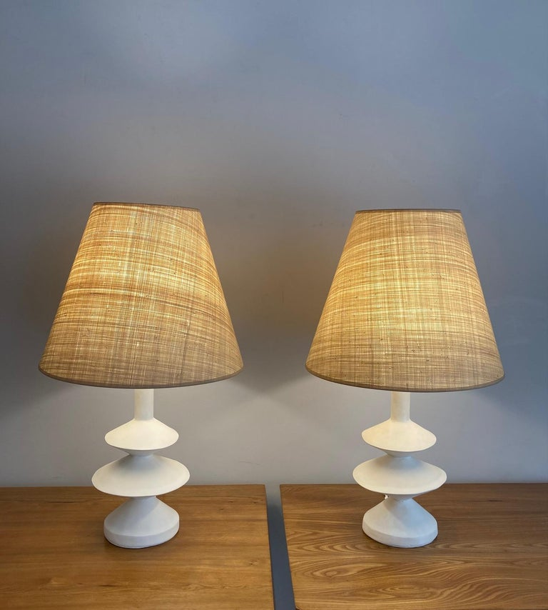 French Pair of Plaster Lamps with Raffia Shades For Sale