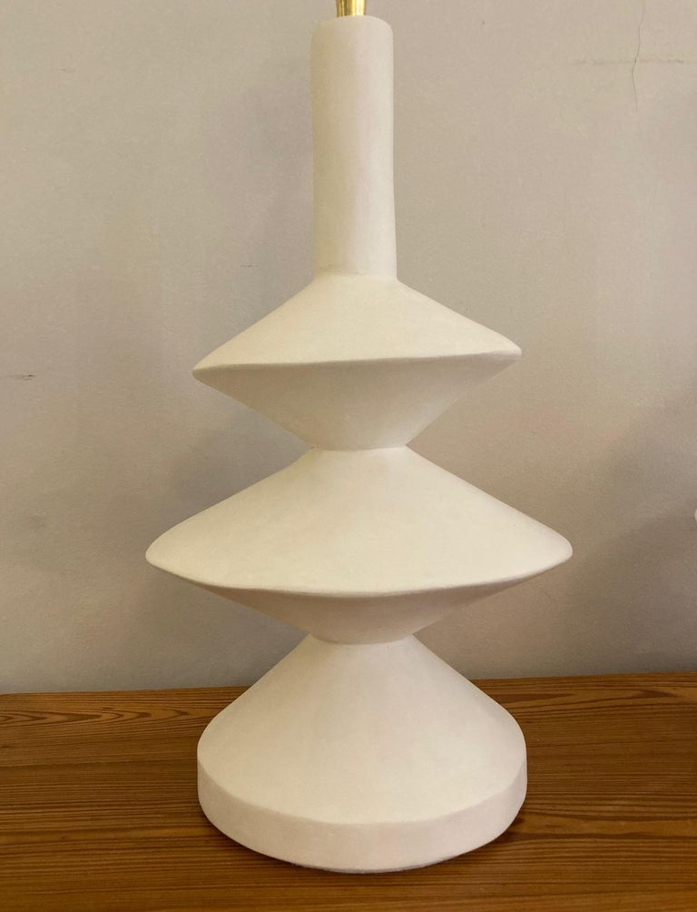 Pair of Plaster Lamps with Raffia Shades For Sale 1