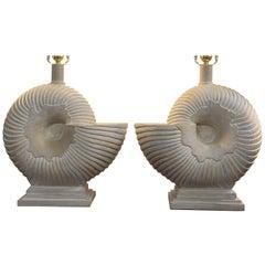Pair of Plaster Nautilus Lamps