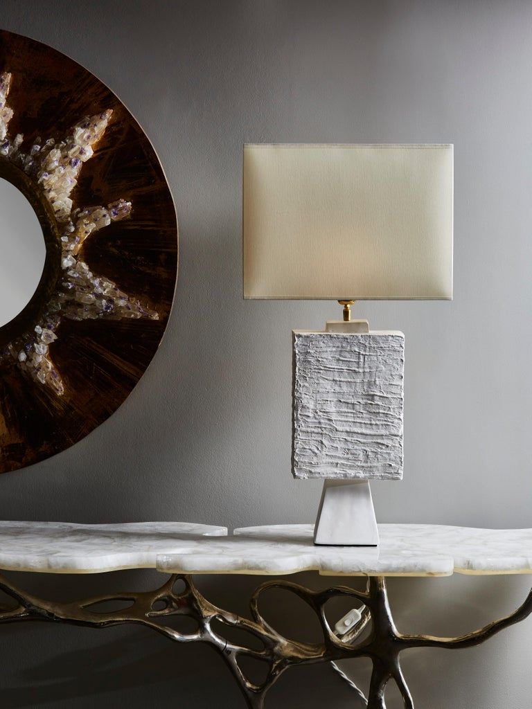 Pair of rectangle table lamps made of textured plaster and brass settings.  Contemporary work made in France.