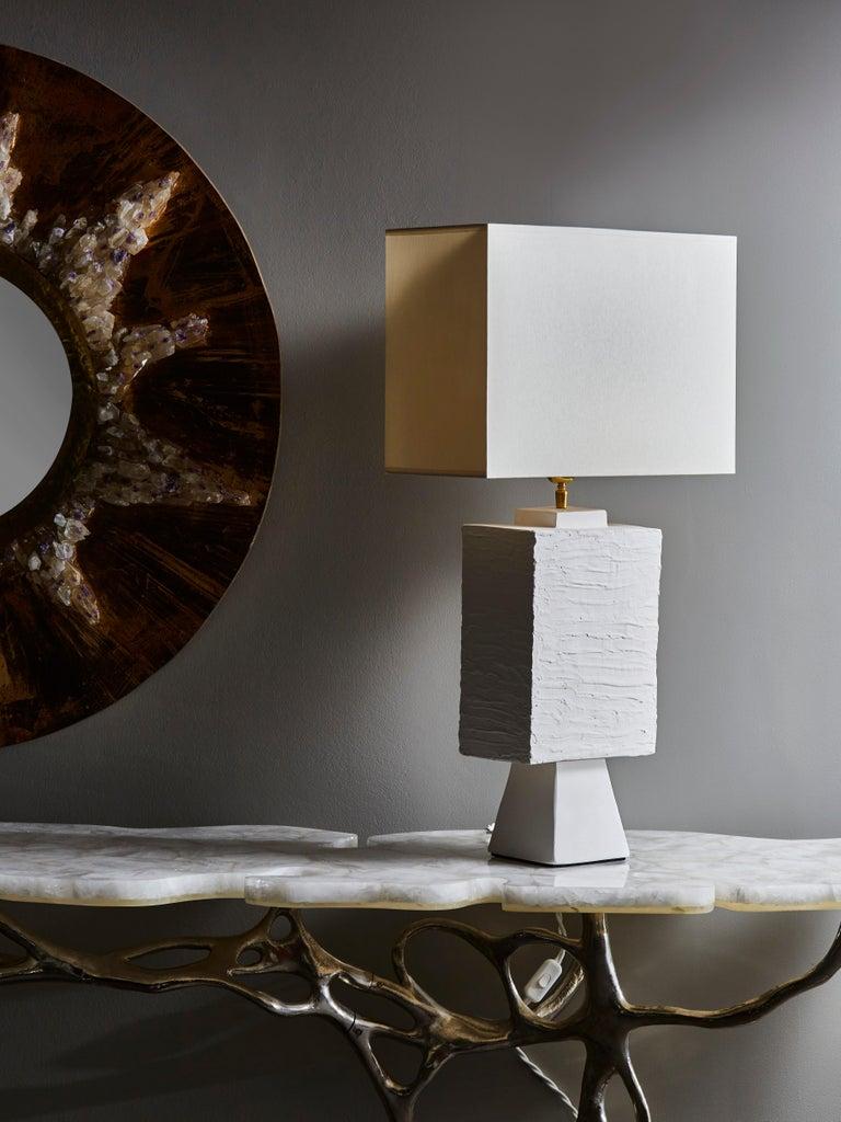 Modern Pair of Plaster Rectangular Table Lamps For Sale