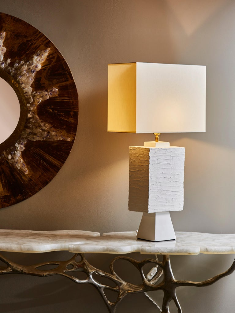 French Pair of Plaster Rectangular Table Lamps For Sale