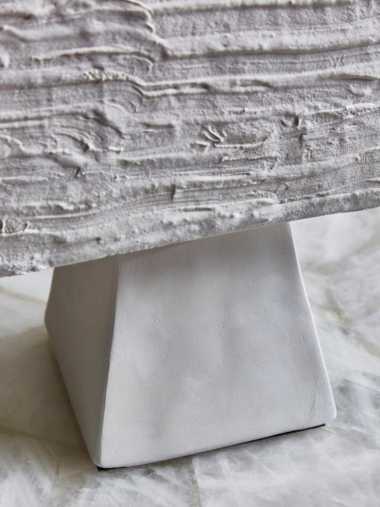 Contemporary Pair of Plaster Rectangular Table Lamps For Sale