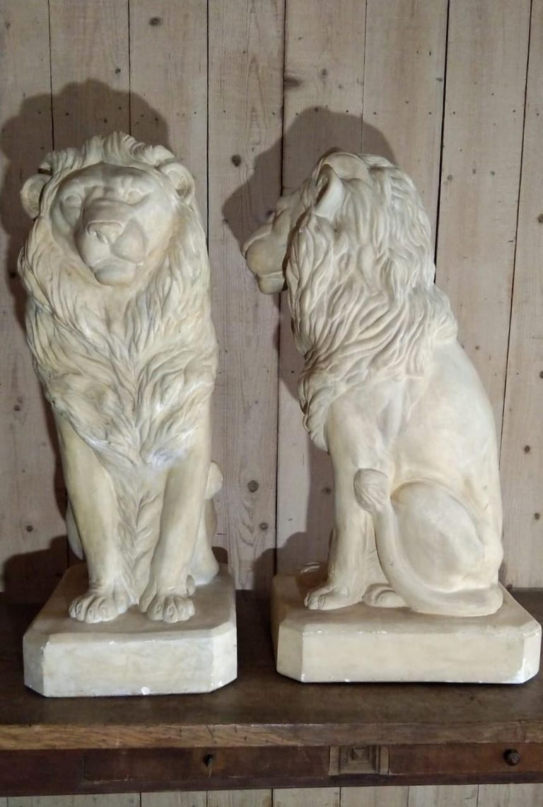 Pair of French plaster seated lions, circa 1960.
