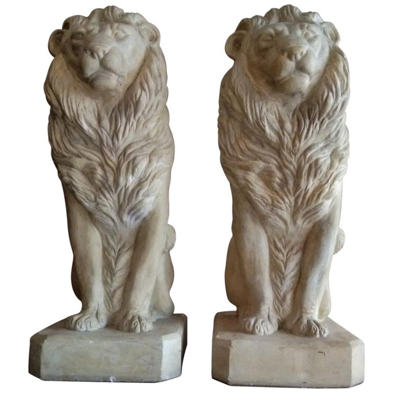 Pair of Plaster Seated Lions, circa 1960 For Sale