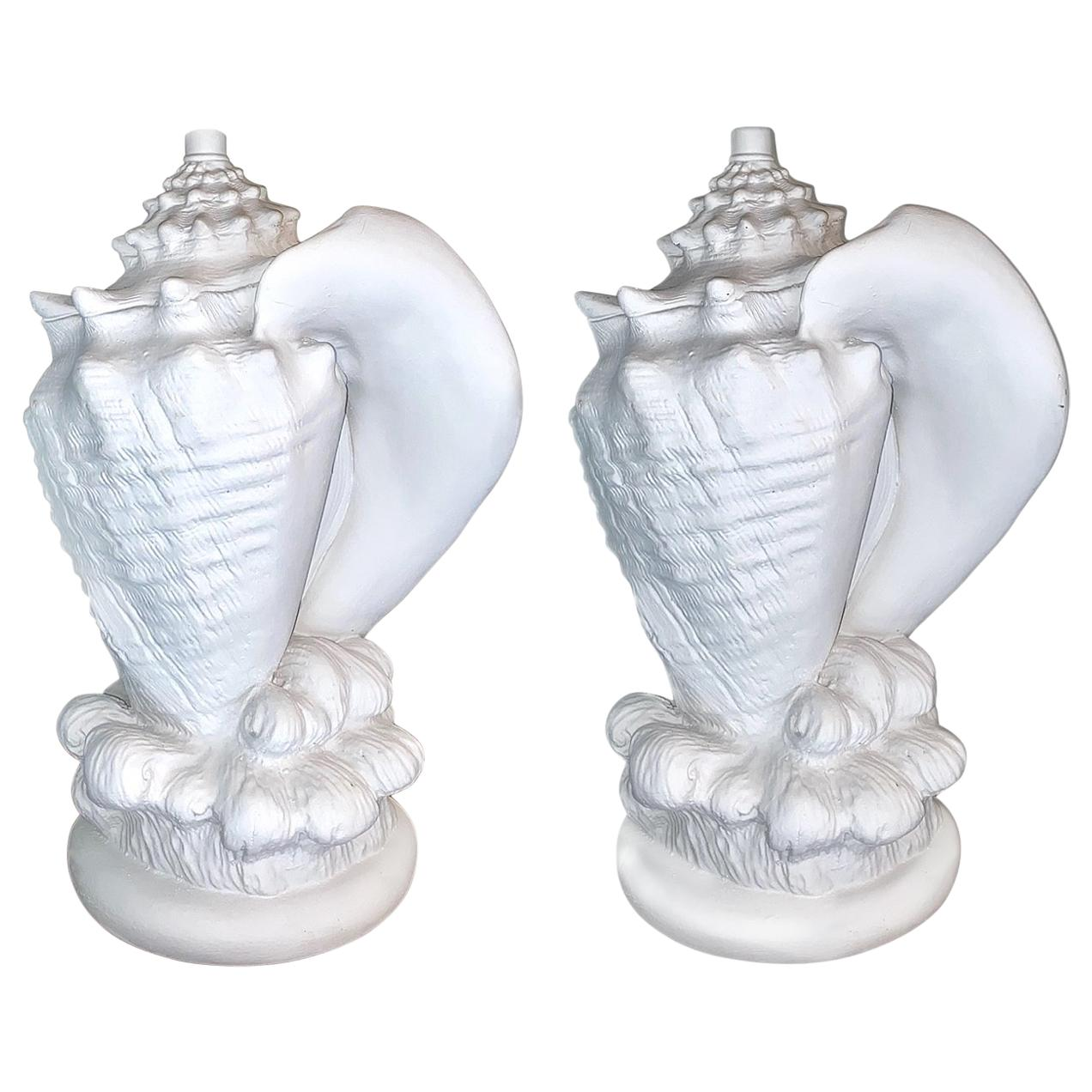 Pair of Plaster Shell Lamps